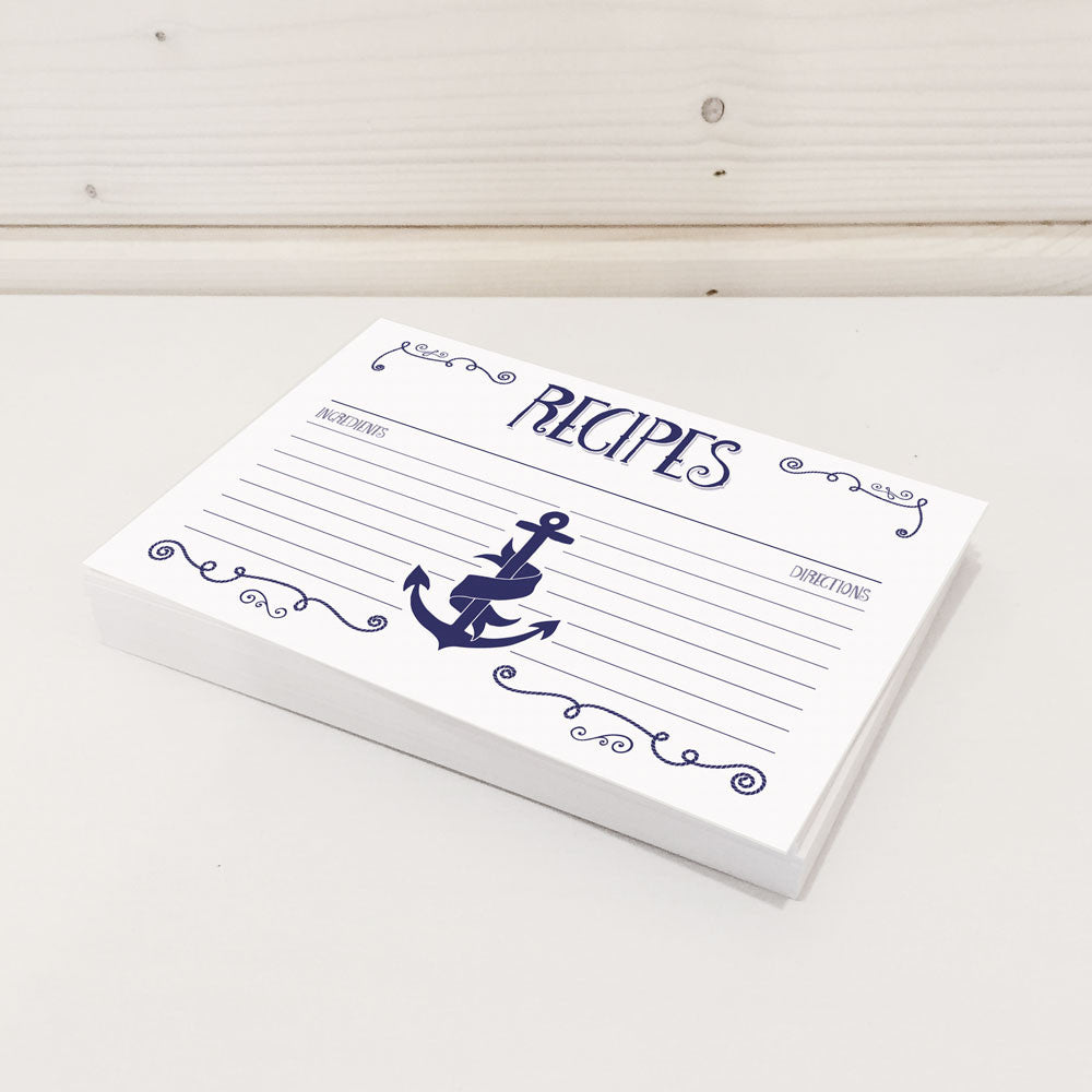 navy nautical recipe cards