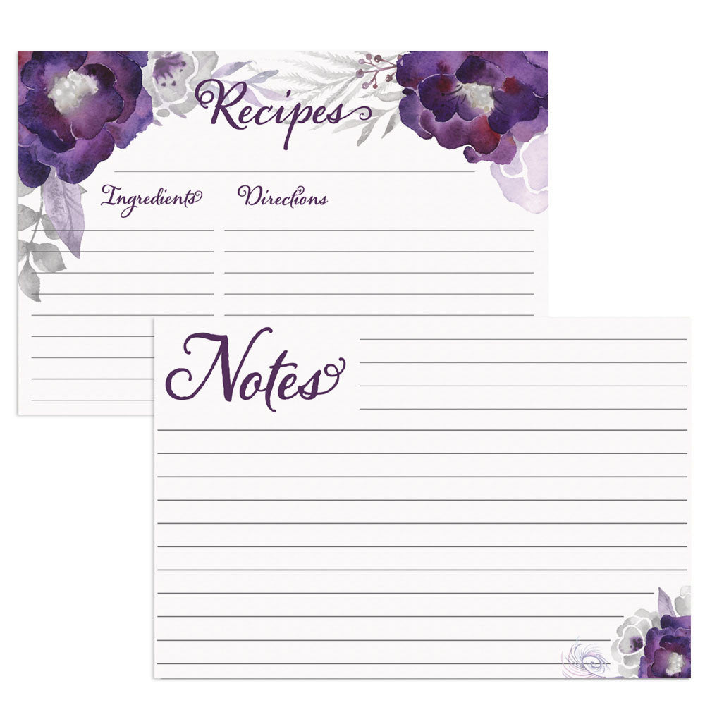 Purple Floral Water Resistant Recipe Card Set, Double-Sided, 48 Cards, 4x6 inches - Recipe Card- dashleigh
