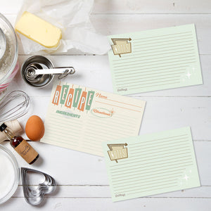 Retro Recipe Cards, Set of 48, 4x6 inches, Water Resistant - Recipe Card- dashleigh