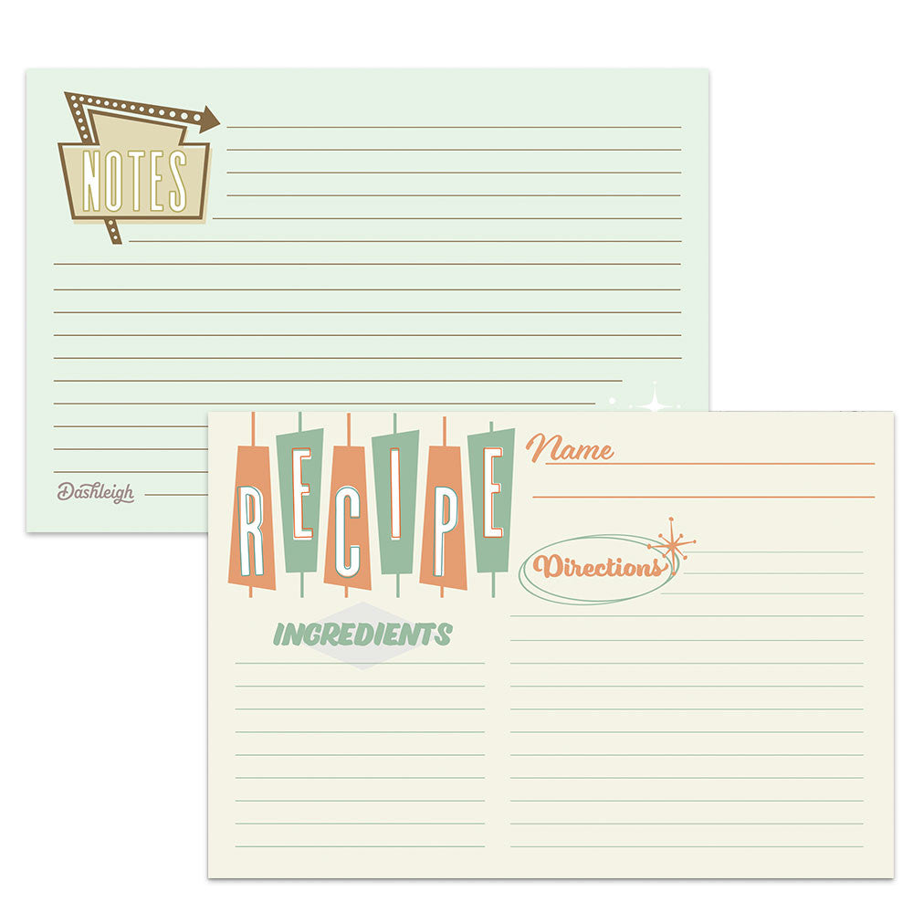 Retro Water Resistant Recipe Card Set, Double-Sided, 48 Cards, 4x6 inches - Recipe Card- dashleigh