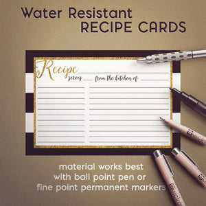 Glitter Gold Recipe Cards, Set of 48, 4x6 inches, Water Resistant - Recipe Card- dashleigh