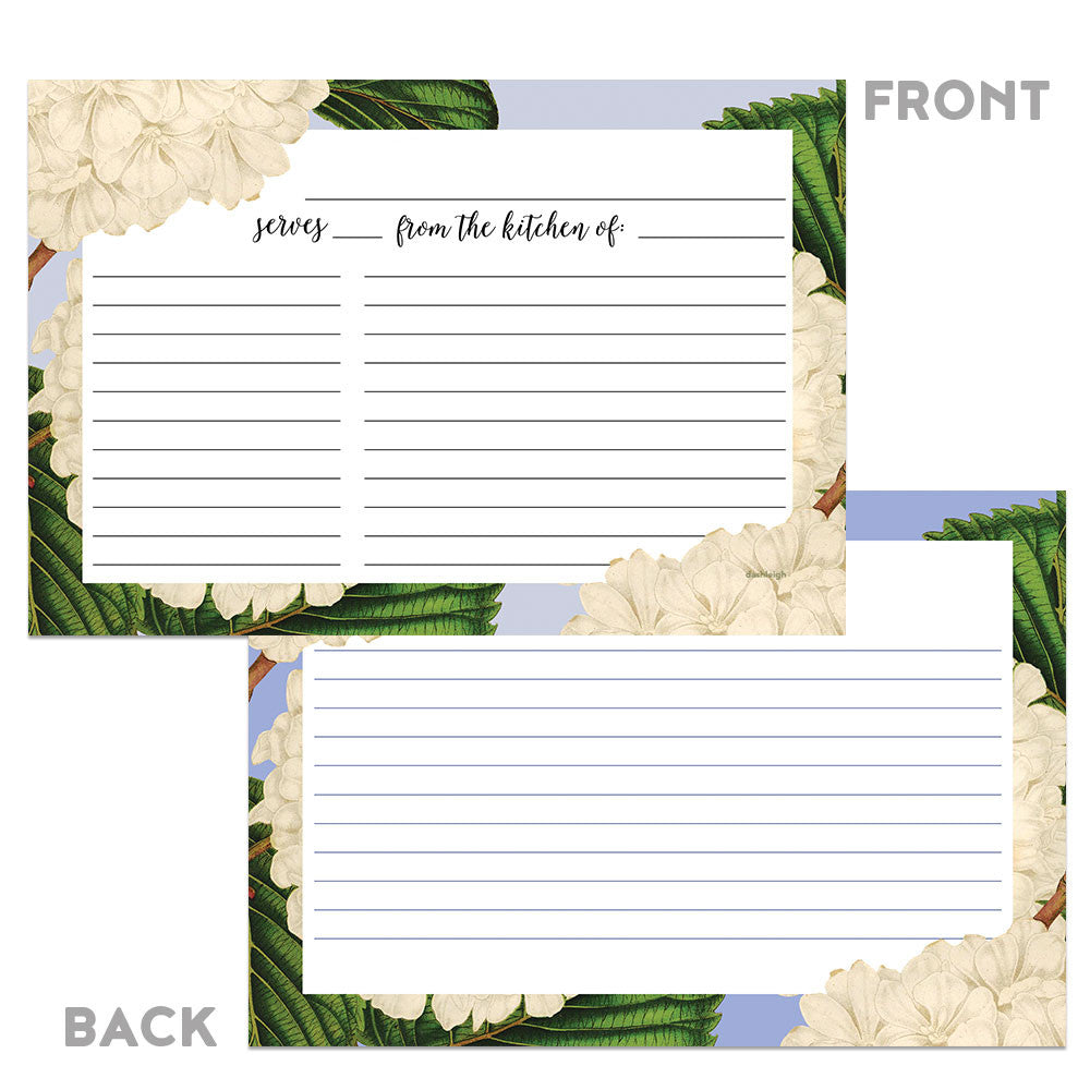 Floral Vintage White Hydrangea Recipe Cards, Set of 48, 4x6 inches, Water Resistant and Double Sided - Recipe Card- dashleigh