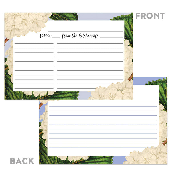 Floral Vintage White Hydrangea Recipe Cards, 48 Cards, 4x6 inches