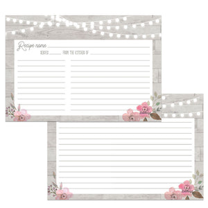 Wood and Lights Grey Recipe Cards, Water Resistant - Recipe Card- dashleigh