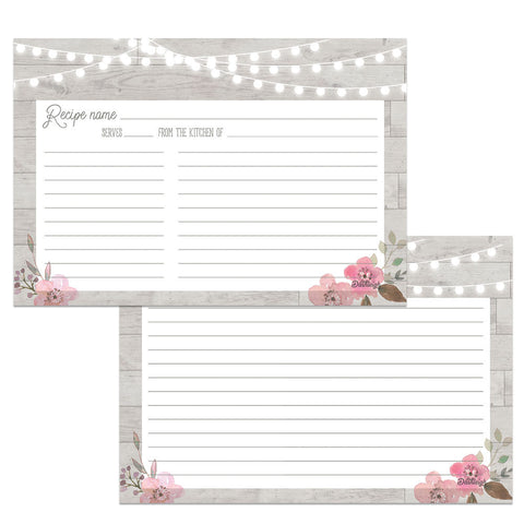 Wood and Lights Grey Water Resistant Recipe Card Set, Double-Sided, 48 Cards, 4x6 inches - Recipe Card- dashleigh