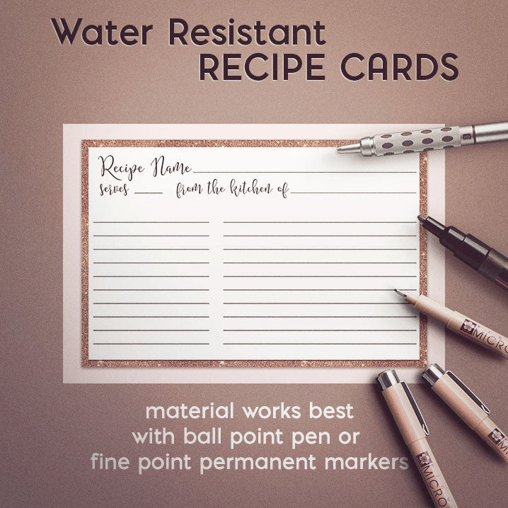 Rose Gold Recipe Cards Set Of  X Inches Water Resistant And