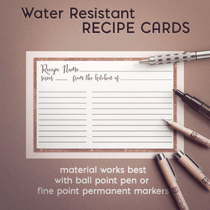 Rose Gold Recipe Cards, Set of 48, 4x6 inches, Water Resistant - Recipe Card- dashleigh