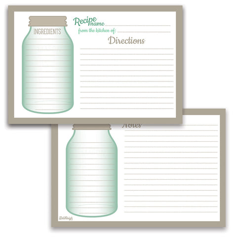 Water Resistant Mason Jar Recipe Cards, Set of 48, 4x6 inches