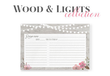 wood and lights recipe cards