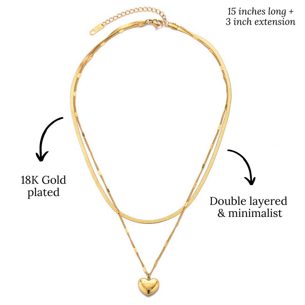 Gold plated 18K necklace | 5 seasons | Love you | love's lane