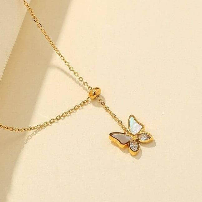 Clementi Necklace - [5 Seasons], [Trending Asian Jewelry], thin-butterfly-chain, Gold, Mother&