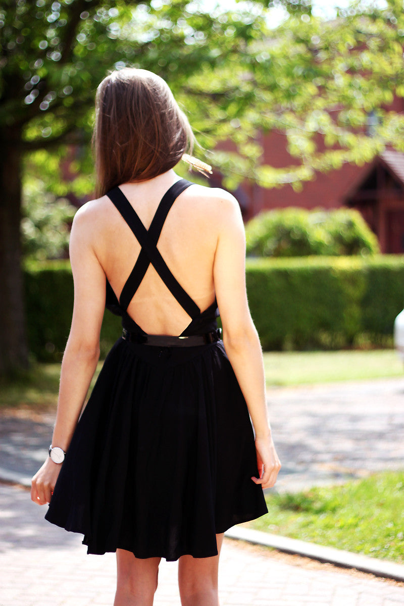 Black Cross Over Back Dress Thumbnail