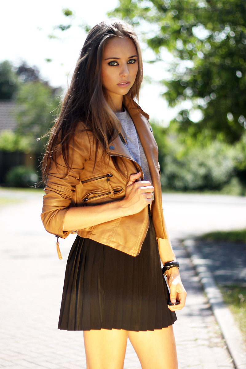 Cropped Brown Leather Jacket