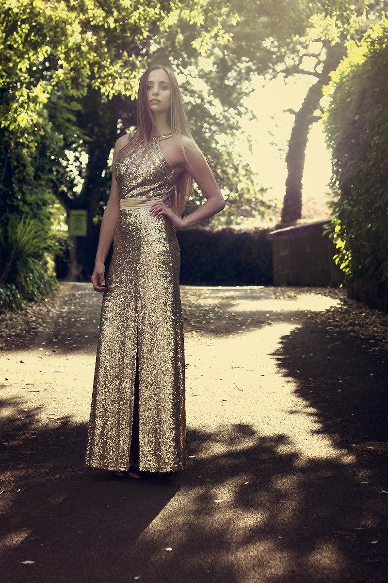 Gold Sequin Split Max Dress Thumbnail