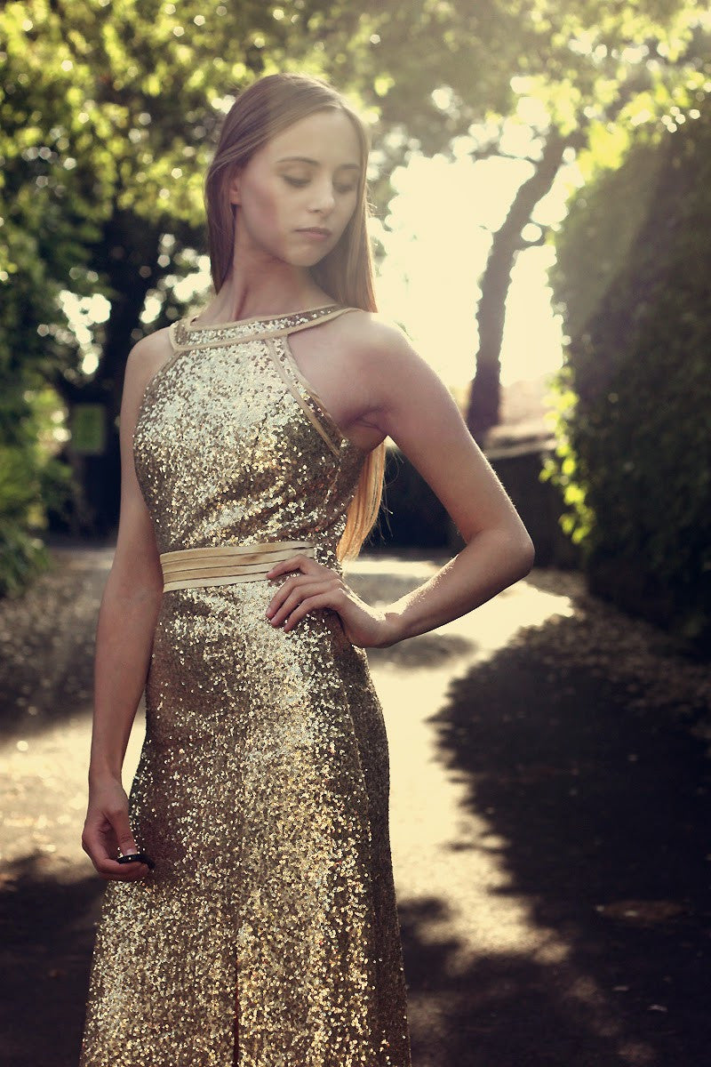 Gold Sequin Split Max Dress