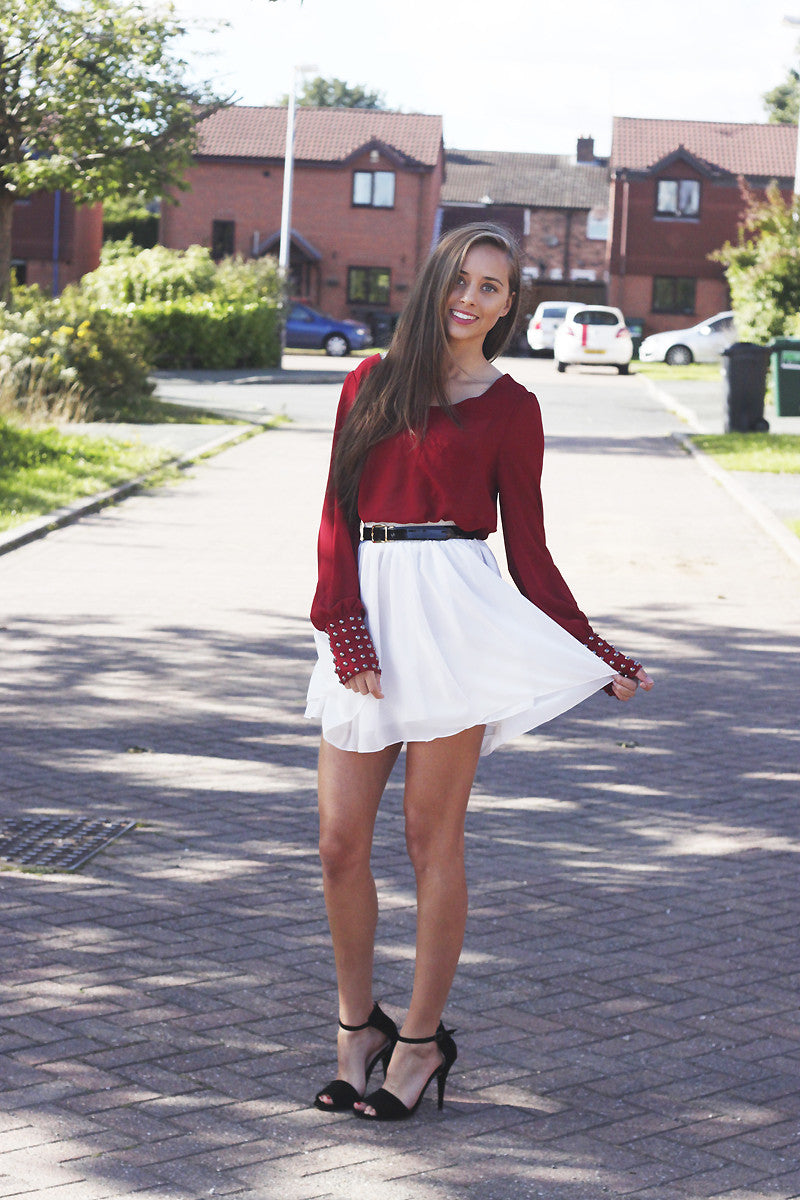 Red Studded Cuff Long Sleeved Top Thumbnail