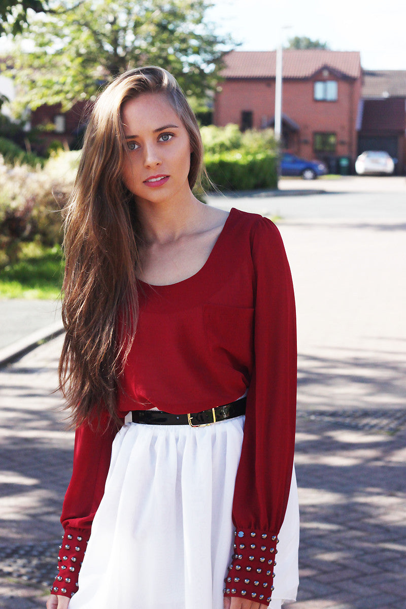 Red Studded Cuff Long Sleeved Top