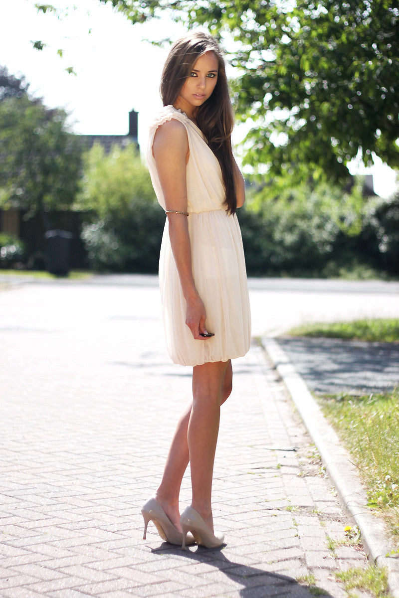 V-Neck Skater Dress with Flower Shoulder Thumbnail