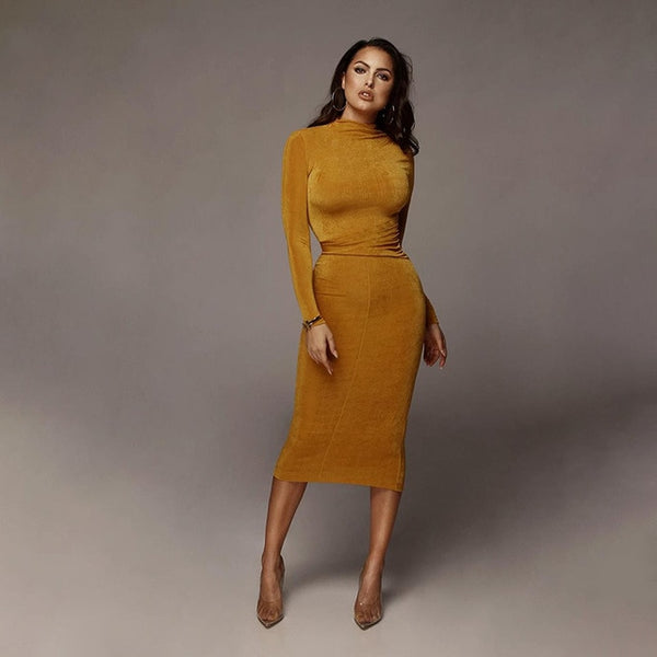 Long Sleeve Ruched Waist Wrap Midi Dress