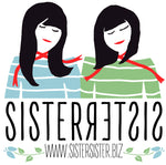 Sister Sister Logo - Shows two girls one with long black hair, wearing a blue and white striped longsleeve top and a red scarf the other girl with a shorter black bob hairstyle wearing a green and white striped top. both wearing a thin red scarf
