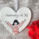 70th Birthday - Heavenly at 70 - Hand Painted Ceramic Heart