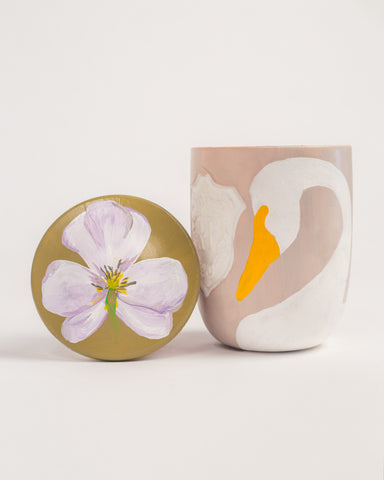 Swans - Regime des Fleurs Artefact Candles hand painted by Voutsa