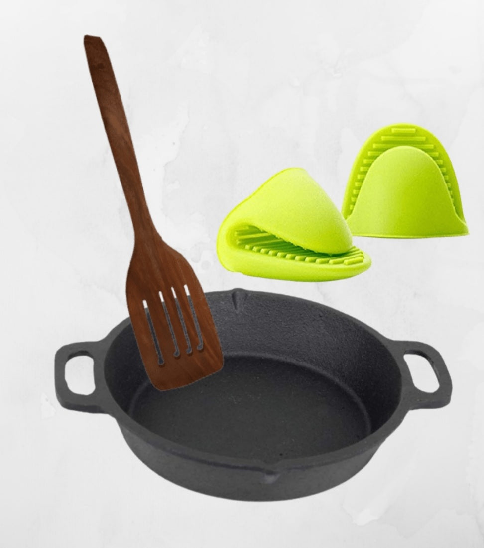 Cast Iron Skillet  Preseasoned with Silicone Gloves & Wooden Ladles -10Inch (Double Handle)