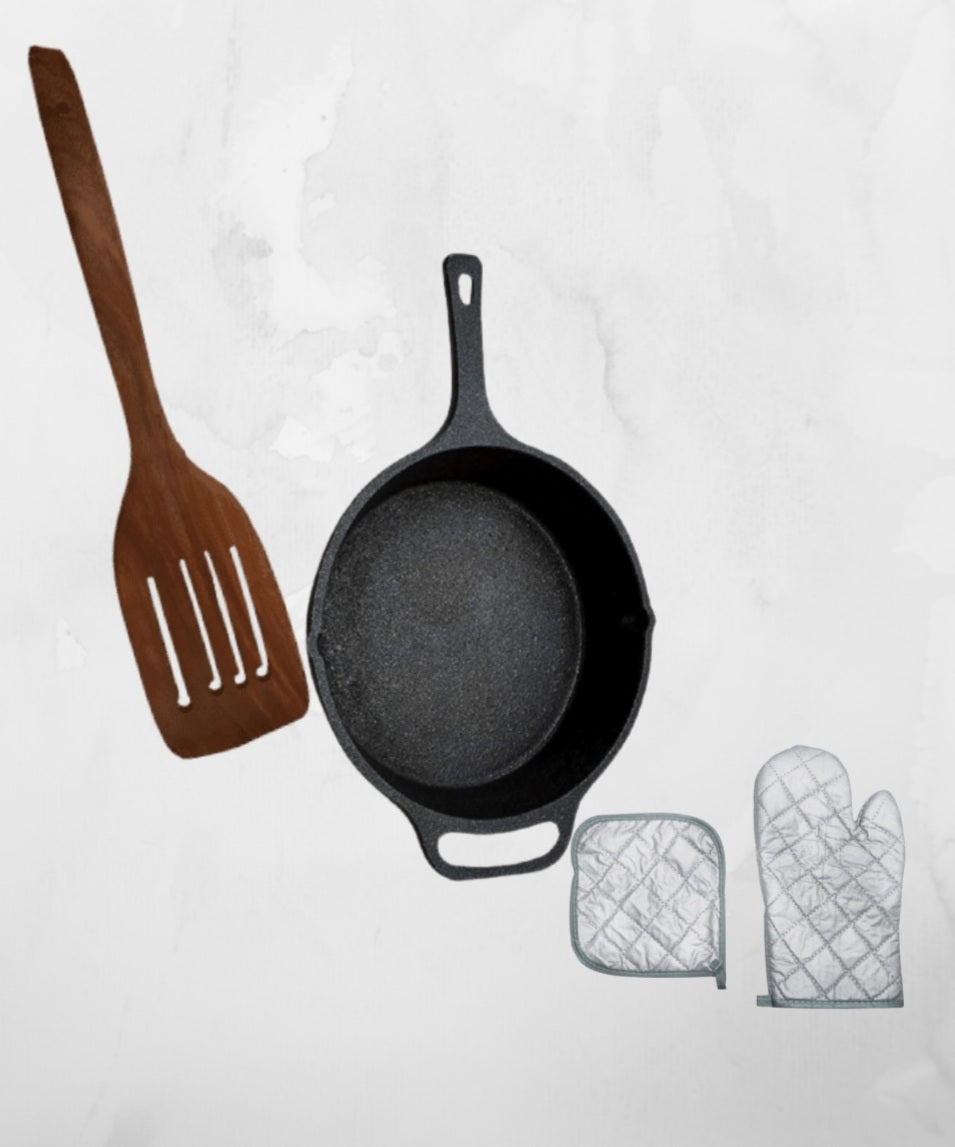 Cast Iron Skillet Pre Seasoned -10 Inch with Hand Gloves & Wooden Ladles