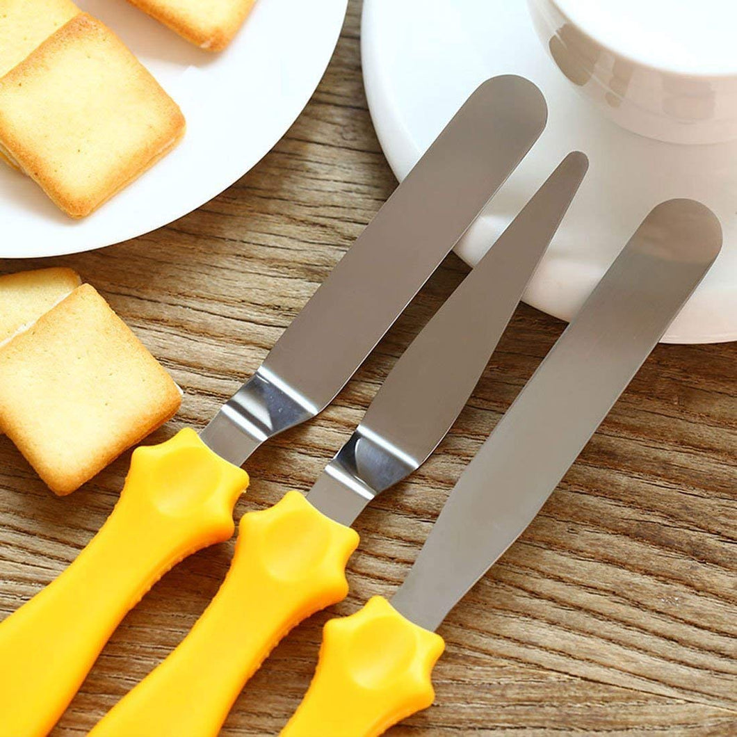 Cake Palette Knife | Steel Icing Spatula 3 Pieces Set | Cake Knife | Cream Icing Frosting Spatula | Baking Kitchen Pastry Cake Decoration Tool
