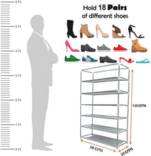 Load image into Gallery viewer, 6 Layer Multipurpose Portable Folding Shoes Rack/Shoes Shelf/Shoes Cabinet with Wardrobe Cover, Easy Installation Stand for Shoes (Pack of 1) (Metal & Non-Woven Fabric)