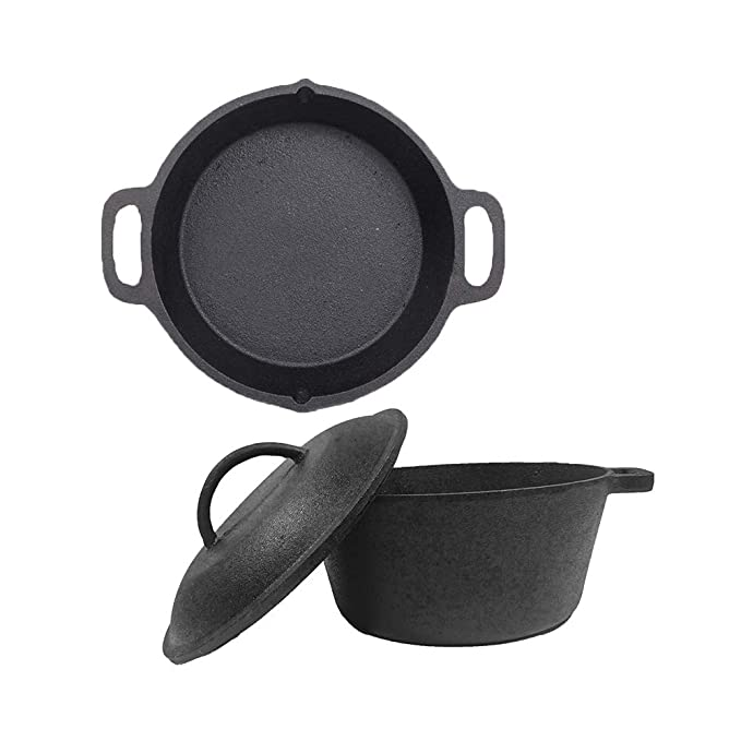 Cast Iron Cookware Combo - Dutch Oven (5L), Double Handle Skillet (10IN) pre-seasoned