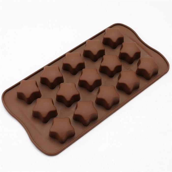 Silicone Chocolate Molds Star Shapes Cookies Mould Cake Decorating Bar Ice Cube Candy Baking Tray Mold Food Grade Non-Stick Moulds, Pack of 1