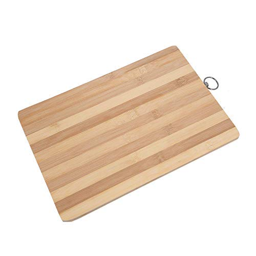 Wooden Bamboo Kitchen Chopping Cutting and Slicing Board with Anti Bacterial Surface with Premium Stainless Steel Rounded Corner Holder (Wooden)