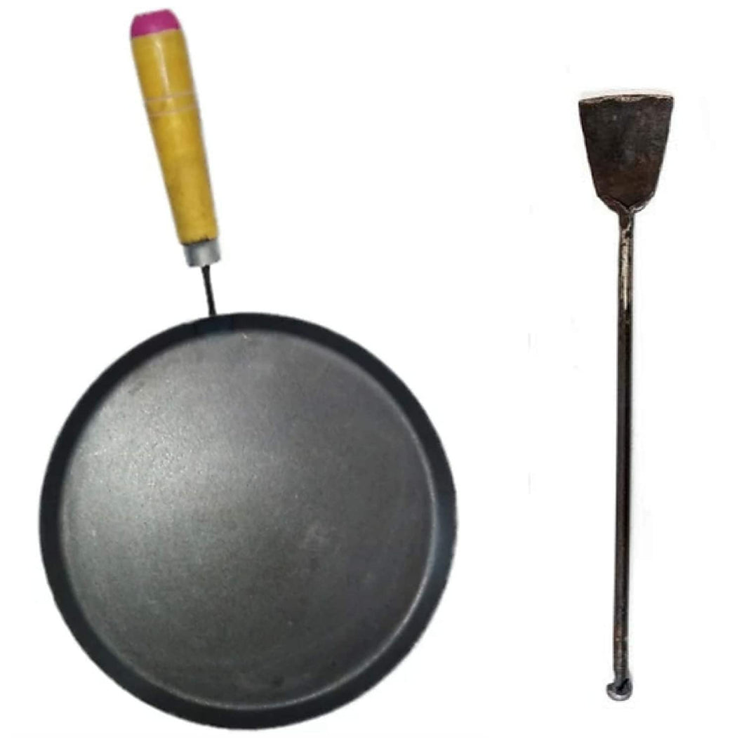 Iron tawa with Wooden Handle(9 inches) and Iron dosa Turner - 2 Items