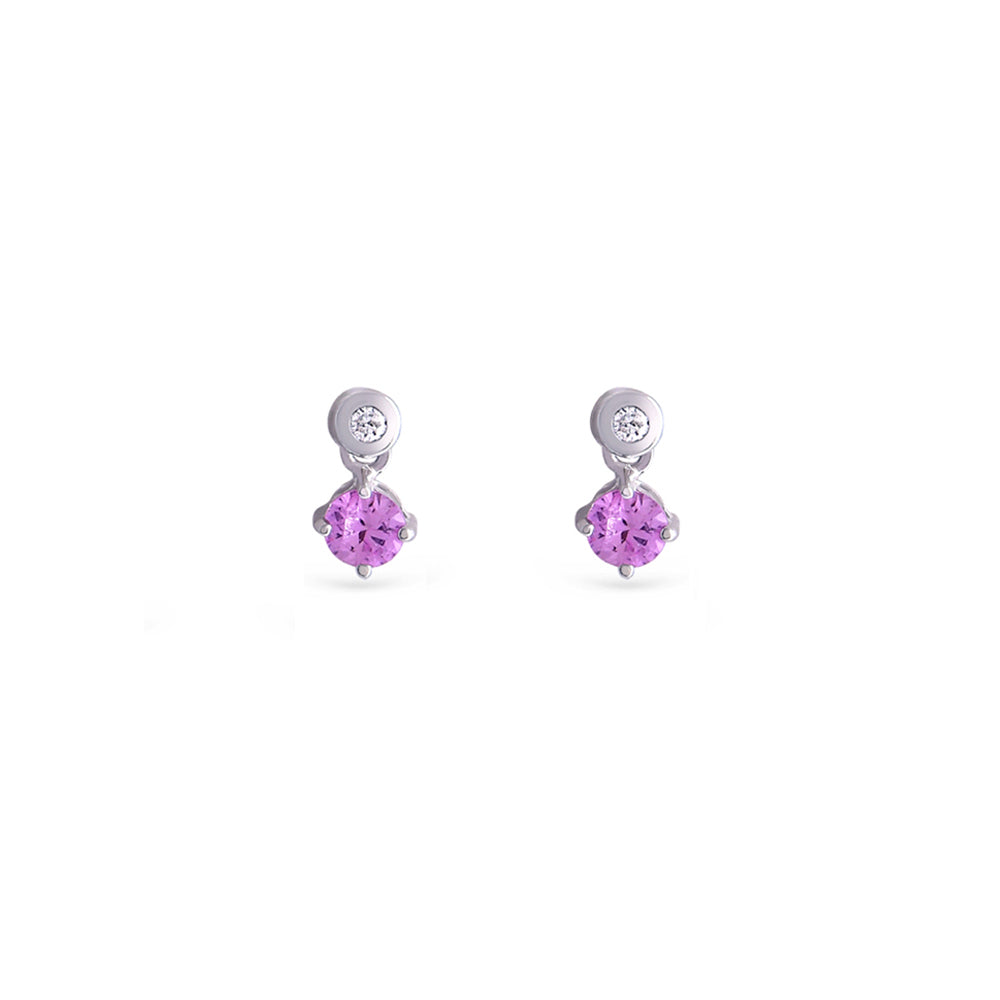 Pink Sapphire Drop Earrings - Baby Fitaihi