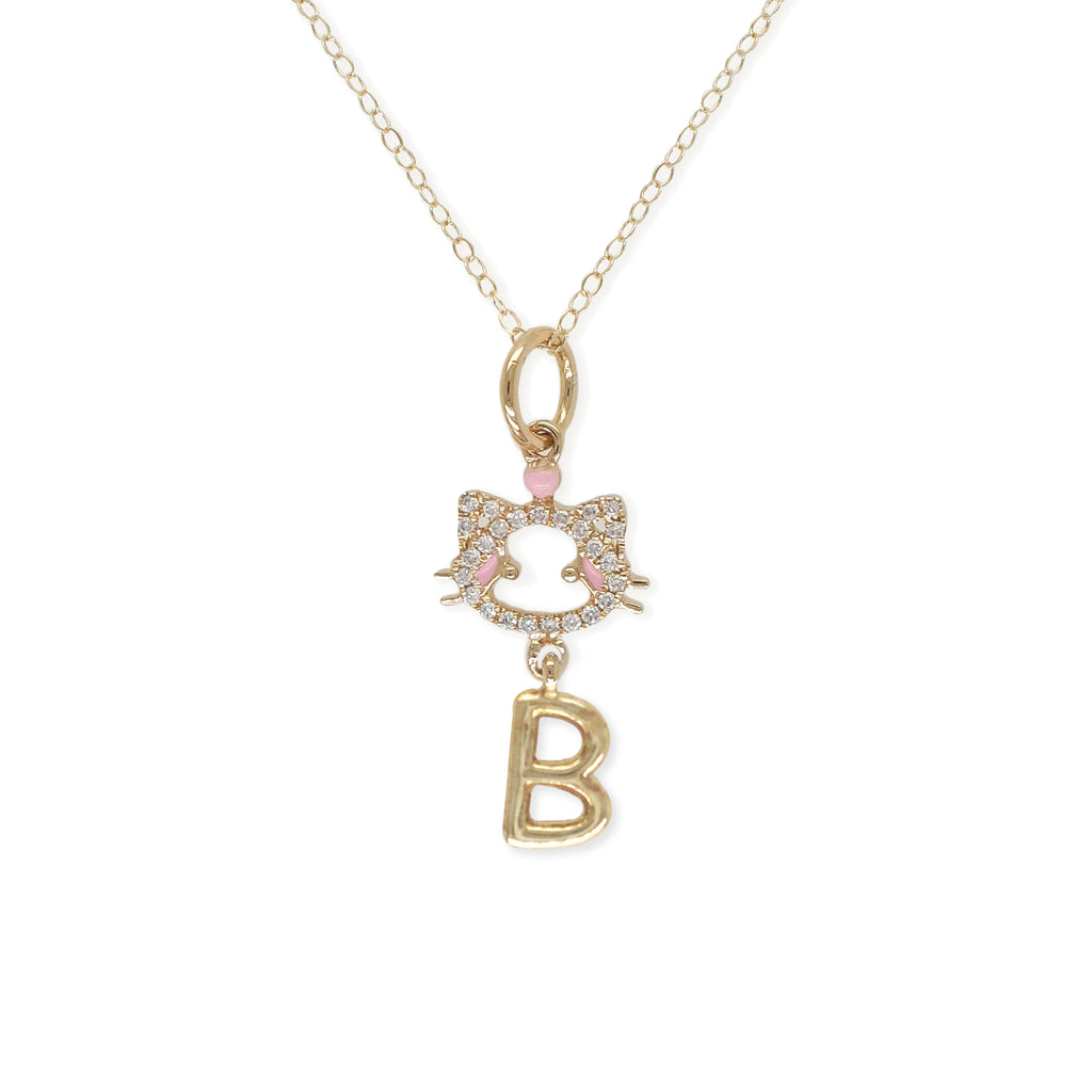 """ Maya The Kitten"" Necklace With The Letter ""B"" - Baby Fitaihi"