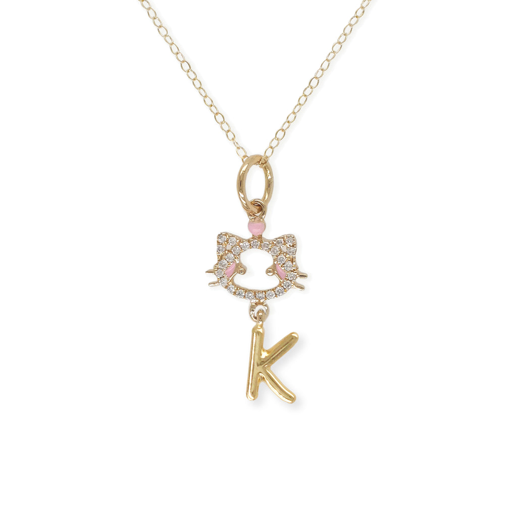 """ Maya The Kitten"" Necklace with The Letter ""k"" - Baby Fitaihi"