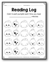 Load image into Gallery viewer, Editable Reading Log: Pumpkin Books for Kids with Parent Handout