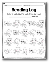 Load image into Gallery viewer, Editable Reading Log: Squirrel Books for Kids with Parent Handout