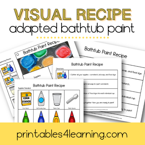 Adapted Visual Recipe: Bathtub Paint - Printables 4 Learning