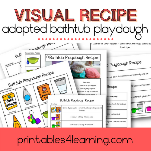 Adapted Visual Recipe: Bubble Bath Playdough - Printables 4 Learning