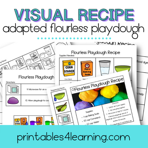 Adapted Visual Recipe: Flourless Playdough - Printables 4 Learning