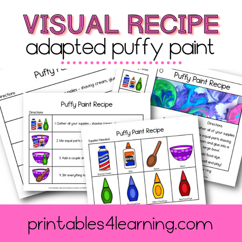 Adapted Visual Recipe: Puffy Paint - Printables 4 Learning