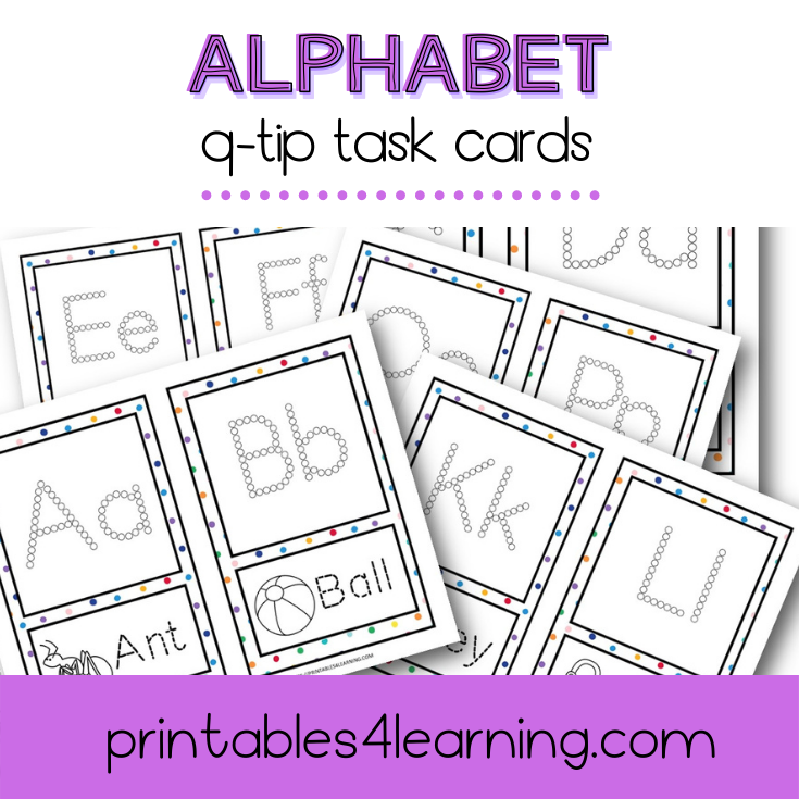 Fine Motor Task Cards: ABC Q-Tip Pack - Printables 4 Learning
