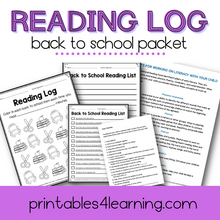 Load image into Gallery viewer, Editable Reading Log: Back to School Books for Kids with Parent Handout