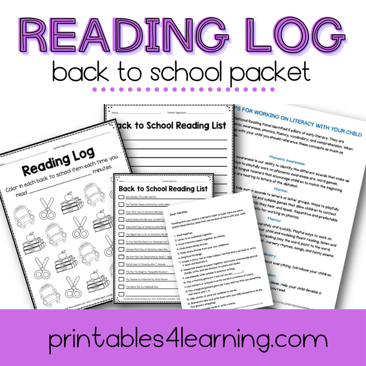 Editable Reading Log: Back to School Books for Kids with Parent Handout