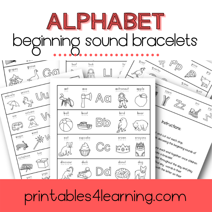 Beginning Sounds Alphabet Bracelet Craft