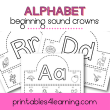 Load image into Gallery viewer, Beginning Sounds Alphabet Crowns Craft - Printables 4 Learning