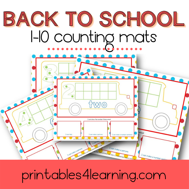1-10 School Bus Counting Mats | Tens Frame, Tally, and Array