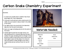 Load image into Gallery viewer, Carbon Sugar Snake Science Experiment: Chemical Reactions
